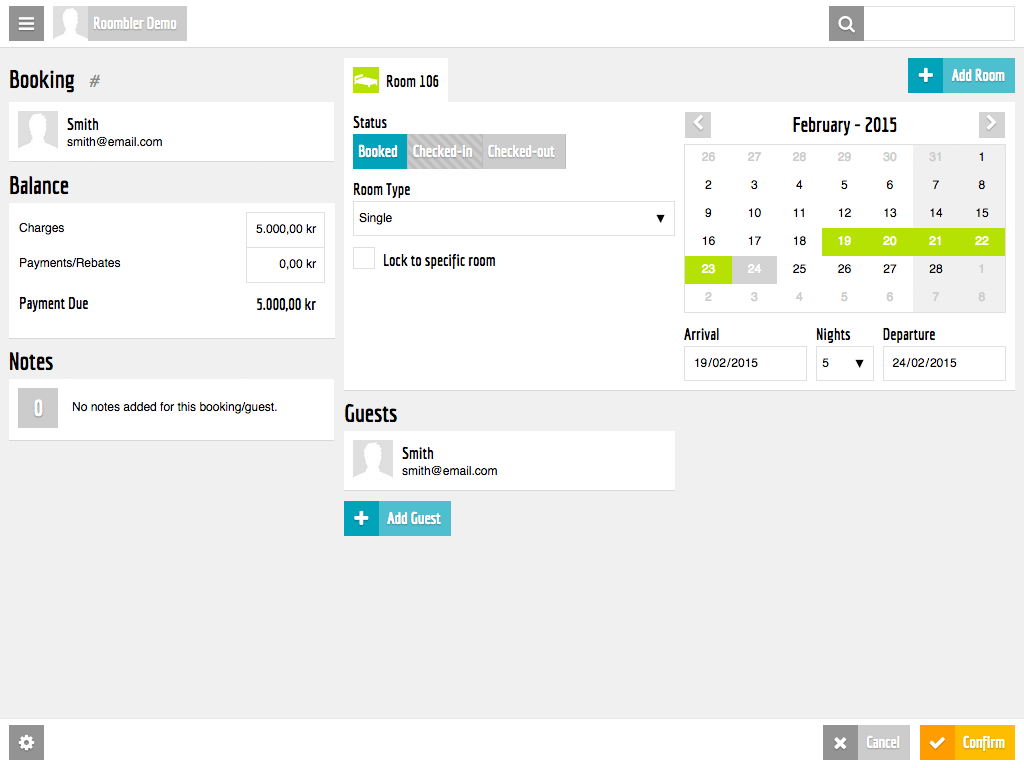 Booking Screen